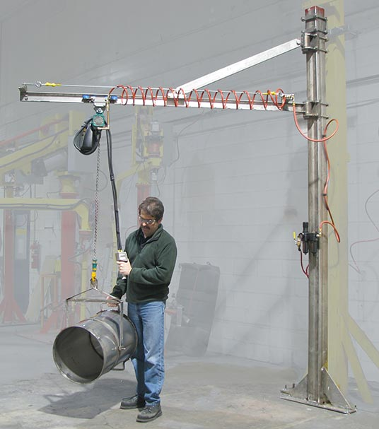 Stainless steel jib crane with end effector for dumping barrels