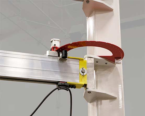 Standard rotational softstop with optional brake and optional intermediate stop by Givens Lifting Systems in the US.
