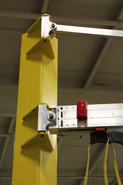 G-Rail Jib Crane softstops at end of rotation by Givens Lifting Systems in the US.