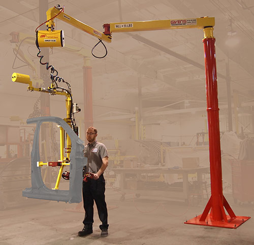 AJ60 Articulated Jib Crane equipped with air balancer and end effector for auto side bodies