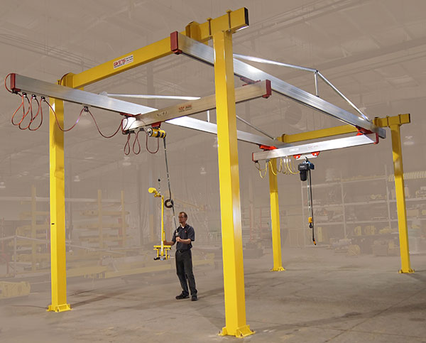 C100 G-Rail Bridge Crane with Balance and Custom Hook manufactured by Givens Lifting Systems in the US.