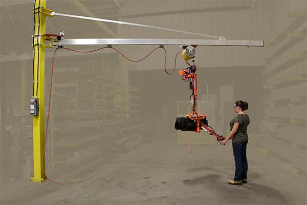 Minimum weight J100 jib cranes with all-aluminum rail, diagonal and trolley by Givens Lifting Systems in the US.