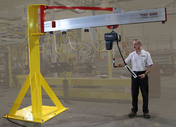 Minimum weight J100 jib cranes manufactured in the US at Givens Lifting Systems Inc.
