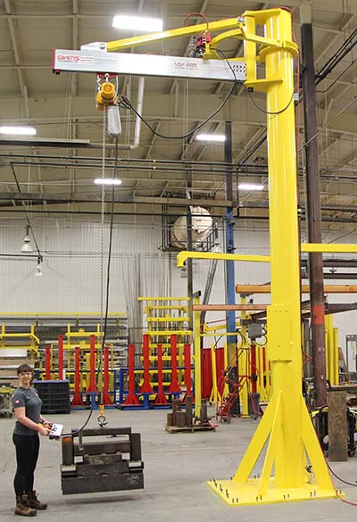J2000 jib crane with powered rotation by Givens Lifting Systems in the US.
