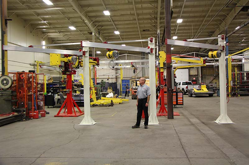 3 J250 jib cranes with balancer for lifting brake rotors by Givens Lifting Systems in the US.