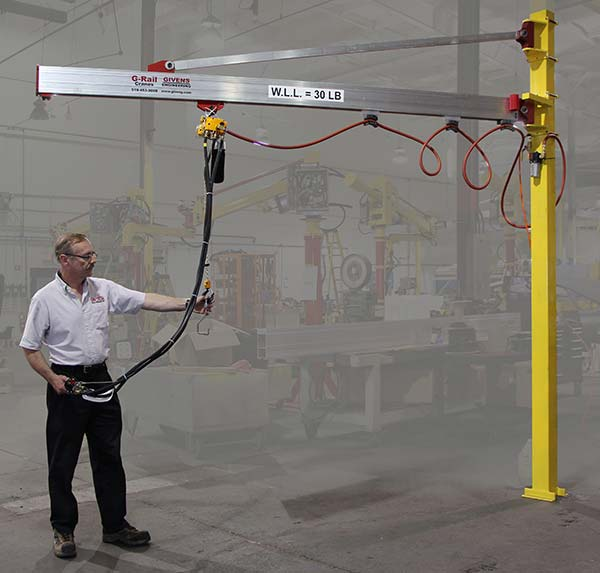 J250 jib crane attached to one column of a bridge crane with hook as end effector at Givens Lifting Systems in the US.