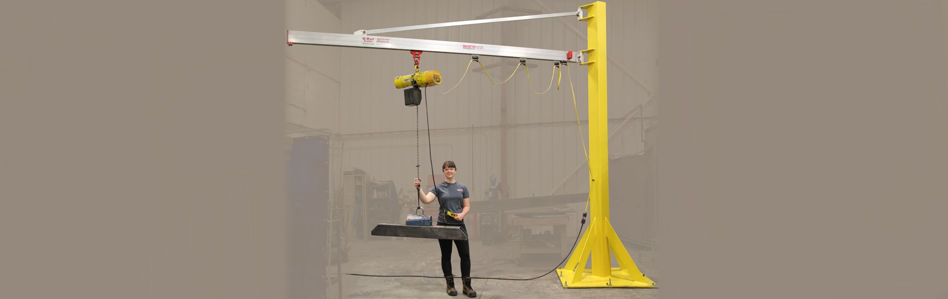 Custom Jib Cranes manufactured in the US by Givens Lifting Systems Inc.